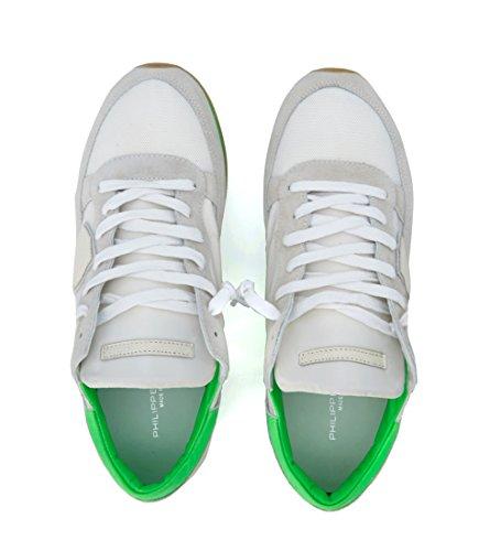 Philippe Model Sneaker Tropez Bianca e Verde Fluo Bianco