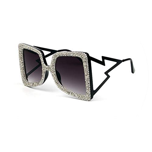 Oversize Sunglasses Women Big Wide Temple Bling Stones Fashion Shades UV400 Vintage Glasses,black leg ()