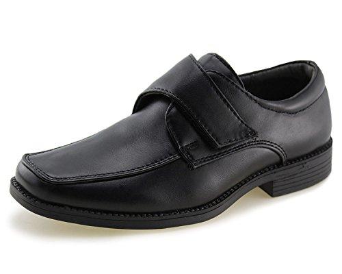Kids School Uniform Dress Shoes Slip-on Oxford (Toddler/Little Kid)(1,Black-1) by Jabasic