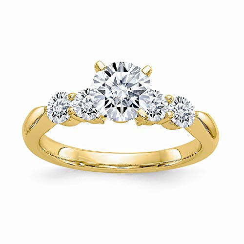14ky 1.64ct. 5 Colorless Moissanite Ring, Size: 7, 14 kt Yellow Gold ()