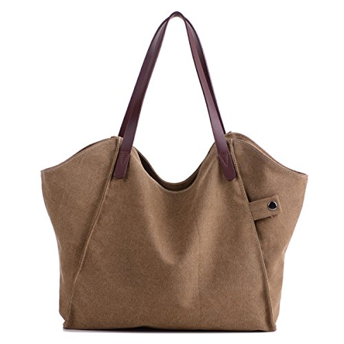 Frauen Jahrgang Leinwand Schulter Aktentasche Messenger Handtasche Einkaufen Die Universelle Einsatz Tasche ,Brown-37cm*3cm*31cm