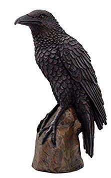 Black Raven Bird on Stump Statue Cold Cast Resin Figurine -