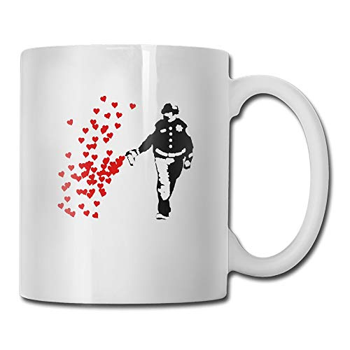 Custom Stencil Police Street Art Pepper Spray Cop Heart Motivational Mug