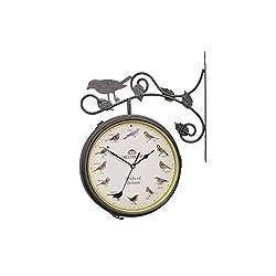 Double Sided Clocks, European Iron Art Flower and Bird Two-Sided Wall Bell Silent Wall Clock Outdoor Garden Bracket Clock