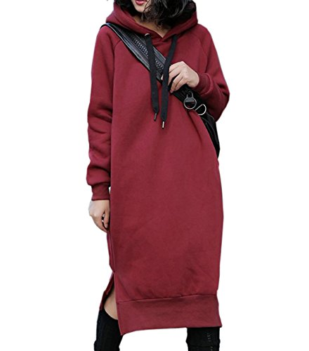 NUTEXROL Women's Thickening Long Fleece Sweatshirt String Hoodie Dress Pullover Plus Size Red