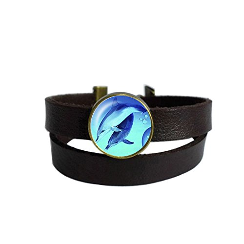 - LAROK WAZZIT Two Layers Design Dark Brown Leather Cuff Bangle Lovely Dolphin Rope Wristband Bracelet with Glass Pendant