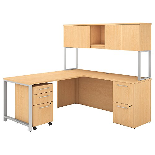Bush Business Furniture 400 Series 72W x 22D L Shaped Desk with Hutch, 48W Return and Storage in Natural Maple