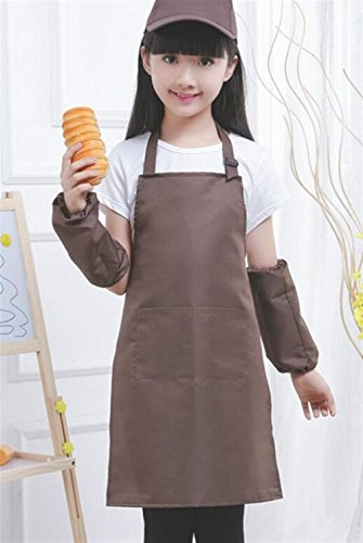 Goodscene Creative Apron Children's Pure Color Apron-Does Not Include Hats,Oversleeves (Coffee) by Goodscene