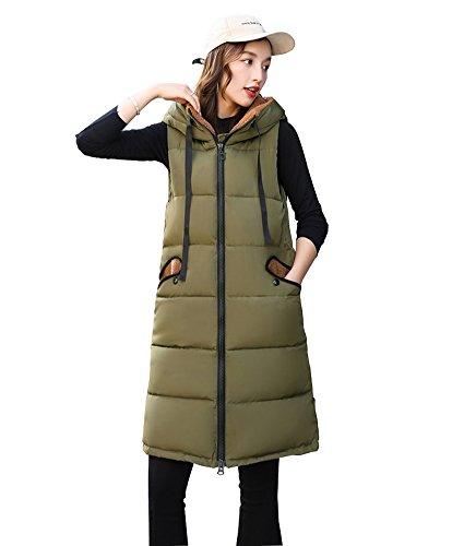 モーテル炭素カトリック教徒FEVON ダウンベスト レディース 中綿ベスト ロング 秋冬 コート ノースリーブ ロングベスト 中綿入り 厚て 暖かい 保温 アウター フード付き 可愛い 着回し オシャレ ダウンジャケット 着やせ 通勤 通学