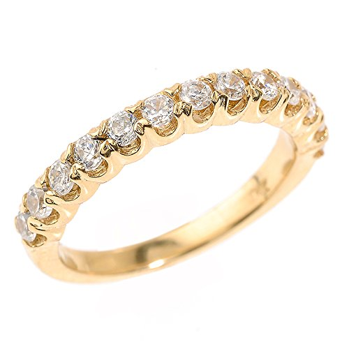 Solid 14k Yellow Gold Stackable CZ Wedding Band(Size 4) by Stackable Knuckle Rings