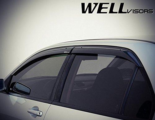 WellVisors Premium Series Side Rain Guard Window Visors Deflectors for 02-06 Mitsubishi Lancer Evolution VIII IX 2002 2003 2004 2005 2006 02 03 04 05 06