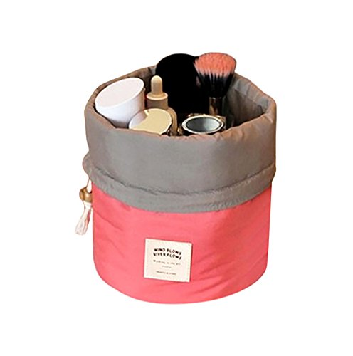 Fan-Ling Lace-up Round Bucket Multi-function Cosmetic Bag,Fashion Portable Hanging Travel Toiletry Bag Storage Bag Case For Women Girl (hot pink) -