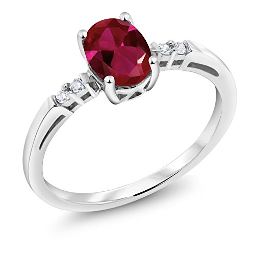 14K White Gold 0.93 Ct Oval Red Created Ruby White Diamond Women's Ring (Available in size 5, 6, 7, 8, (Ruby Gold Ladies Ring)