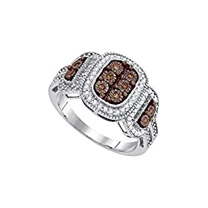 Size 8 - 10k White Gold Round Chocolate Brown Diamond Cluster Ring (1/3 Cttw)