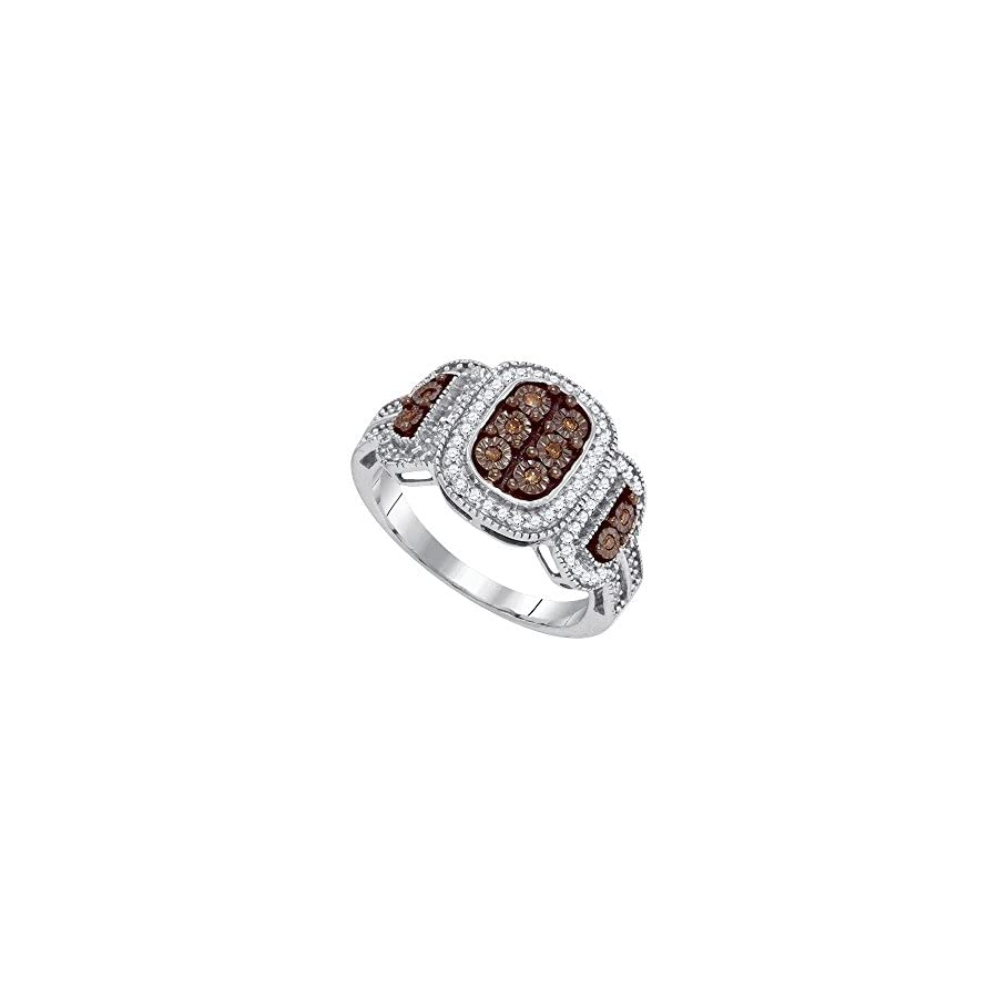 Sonia Jewels 10k White Gold Round Chocolate Brown Diamond Cluster Ring (1/3 Cttw)