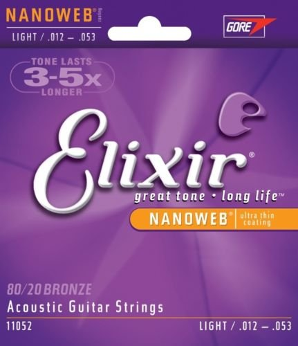 Elixir Nanoweb Light 80/20 Bronze Acoustic Guitar Strings 11052