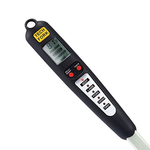Bbq Fork Thermometer (Barbestar Digital Meat Thermometer for Grilling with Long Fork,Instant Read BBQ Cooking Thermometer with LED Screen, Ready Alarm (Black))
