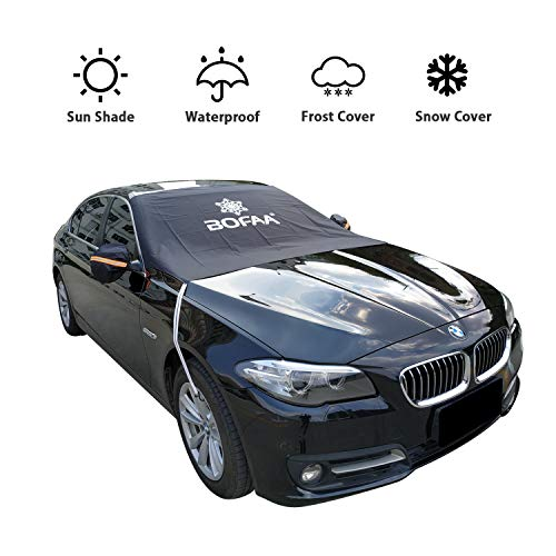BOFAA Car Windshield Snow Cover (Non-Magnetic), Windshield Cover with Mirror Covers,Blocking Snow, Fallen Leaves, UV Sun Rays,Elastic Hooks Design Will Not Scratch Paint (M - 85 x 49 inches)