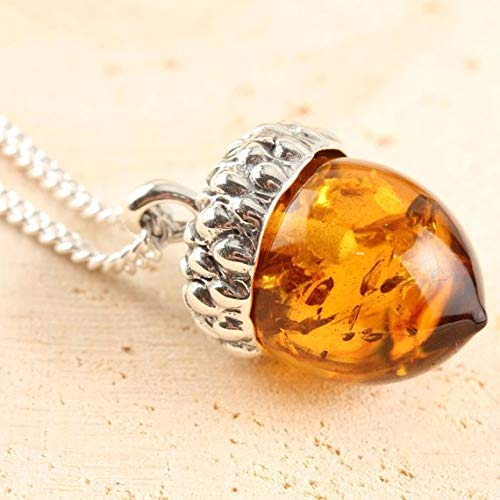 7951c9017 Image Unavailable. Image not available for. Colour: Solid Sterling Silver  Natural Baltic Amber ACORN Pendant & Necklace
