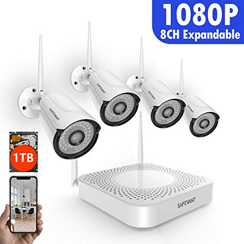 [Full HD] Security Camera System Wireless,Safevant 8CH 1080P Wireless Security Camera System(1TB Hard Drive),4PCS 1080P(2.0MP) Indoor/Outdoor Wireless IP Cameras,Plug&Play,No Monthely Fee