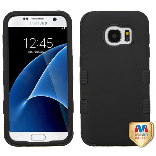 Rubberized Black/Black TUFF Hybrid Phone Protector Cover (Military-Grade Certified) for SAMSUNG G930 (Galaxy - Rubberized Cover Case Protector