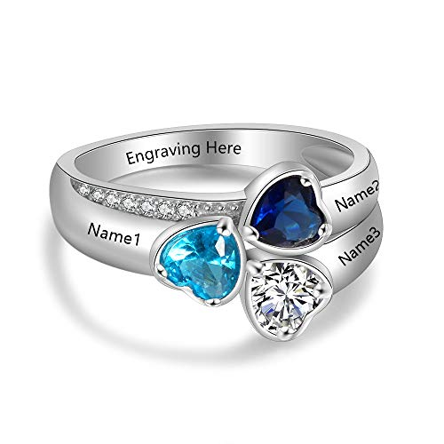 Ashleymade Personalized Mothers Rings with 3 Simulated Birthstones for Mom Family Name Rings for Grandmother Mother's Day Rings (Silver 4, 8)