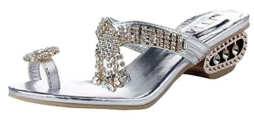 strass Silver Minetom femmes à sandales pour d'été Tongs pantoufles qzp7ftf