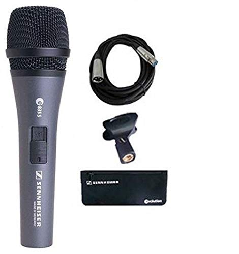 Sennheiser e835-S Handheld Dynamic Cardioid Microphone with On/Off Switch Bundle with Mic Cable, and Polishing Cloth ()