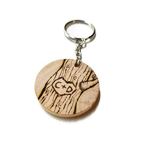 personalizable couples initials keychain - handmade in the USA - wooden tree design - anniversary gift idea - for boyfriend girlfriend - boho valentines - Handmade Wooden Keychain