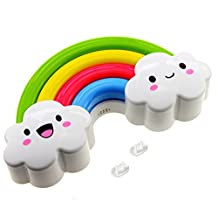 Rainbow Night Light Lamp by Little Lamby, with 2 Electrical Plug Covers - LED powered for Baby and Toddlers, Perfect for Bedside Table or Bathrooms, Battery Operated, Make Your Child Smile Today!