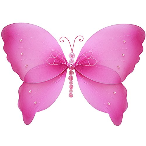 Hanging Butterfly 10 Medium Dark Pink (Fuchsia) Crystal Nylon Butterflies Decorations. Decorate a Baby Nursery Bedroom, Girls Room Ceiling Wall Decor, Wedding, Birthday Party, Bridal Baby Shower, Bat
