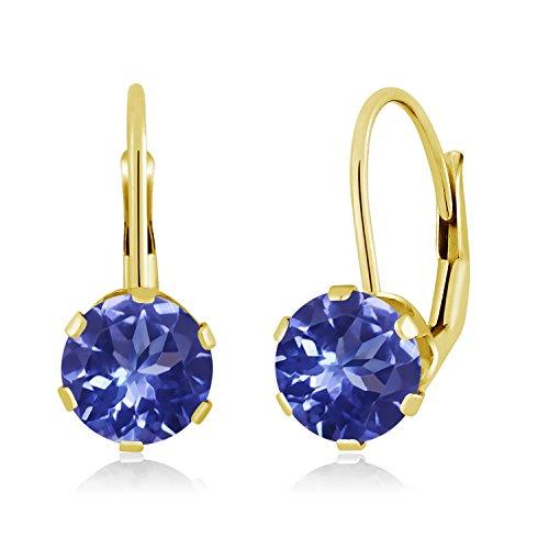 Gem Stone King 1.80 Ct Round Blue Tanzanite 14K Yellow Gold Earrings ()