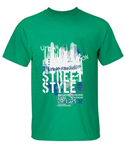 Crossing Men Building Street Style Graffiti Graphic Text T Shirt S green