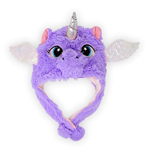 Cute Kids Girls Boys Unicorn Plush Hat with Wings Winter Warm Soft Fun Rainbow Peruvian Cap (Purple)