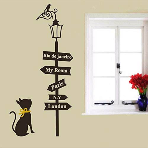 Pbldb 48X58Cm Way Sign Cute Cat Bird Light Quote Home Living Room Decoration Wall Sticker DIY Mural Art for Kids Rooms -