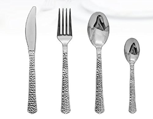 Royalty Settings Silver Inspiration Collection Lace Plastic Plates and Plastic Cutlery for 120 Persons, Includes 120 Dinner Plates, 120 Salad Plates, 240 Forks, 120 Knives, 120 Spoons, 60 Teaspoons by Royalty Settings (Image #2)