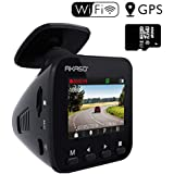 Dash Cam Dashboard Recording Camera - AKASO V1 Car Recorder, 1296P FHD, GPS, G-Sensor, WiFi with Phone APP, Night Vision, Loop Record, Parking Monitor, 170°Wide Angle, with 16GB Card