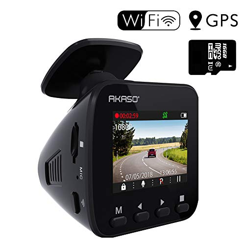Dash Cam Dashboard Recording Camera - AKASO V1 Car Recorder, 1296P FHD, GPS, G-Sensor, WiFi with...