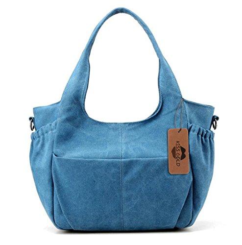 Women Fashion Canvas Casual Tote Bags Hobo Shoulder Bag Blue - 8