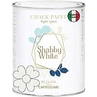 SHABBY WHITE CHALK PAINT Pittura Shabby Chic Vintage Mobili Pareti Altro Extra Opaca 40COLORI (375 ml, BIANCO NATURALE…