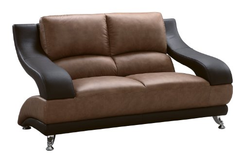 (Global Furniture Wyatt Collection Leather Matching Love Seat, Brown and Dark Brown)