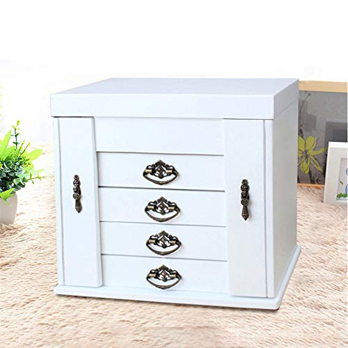 (HANXIAODONG Jewelry Box Organizer 4 Draws Lock and Key Mirror Lined Wooden Jewellery Box Jewellery Box Jewellery Armoire Necklace Ring Bracelet Storage Holder Vintage Case Gift)