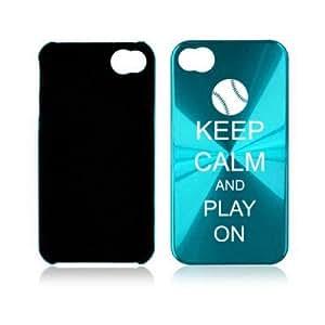 Apple iPhone 4 4S 4G Light Blue A1220 Aluminum Hard Back Case Cover Keep Calm and Play On Baseball Softball