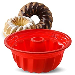 Aokinle Silicone Baking Molds, European Grade Fluted Round Cake Pan, Non-Stick Cake Pan for Jello,Buntcake,Gelatin,Bread…