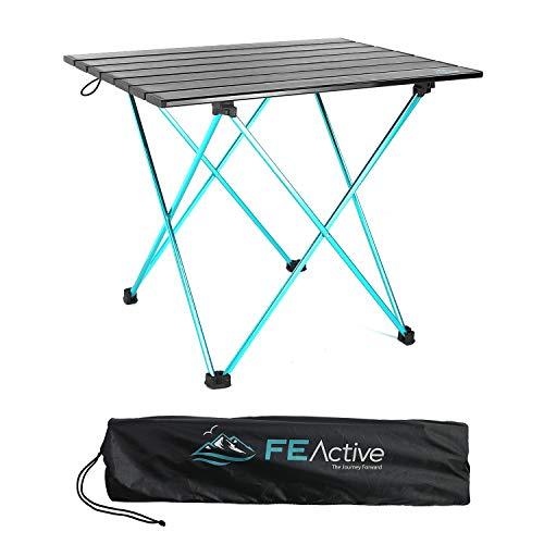 FE Actice Mesa Plegable Compacta - En Aluminio, Disenada como una Mesa de Camping Portatil Ultraligera para Playa, Senderismo, Camping, Deportes, Pesca, Mueble de jardin | Disenada en California