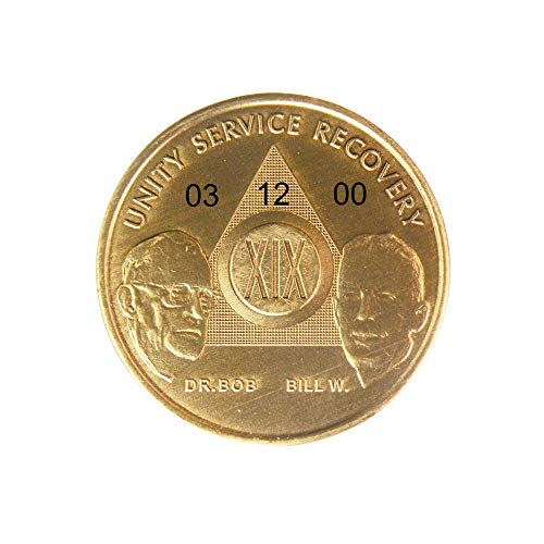 (HPRS 19 Year Personalized Custom Engraved Bill & Bob Founders Edition Antique Bronze AA (Alcoholics Anonymous)-Sober-Sobriety-Birthday-Medallion-Chip-Challenge)