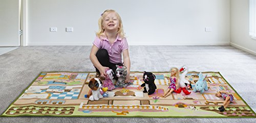 Kids Carpet Playmat Rug Play Time! Fun House Great For Playing With Dolls Mini People Figures Cars, Toys - Learn Educational Play Safe & Have Fun - Children Play Mat,Play Game Area Includes 3D Rooms! by Nessie Playground (Image #2)
