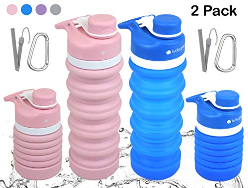 lucky green Collapsible Water Bottles-BPA Free, FDA Approved Food-Grade Silicone Portable Reusable Leak Proof Travel Water Bottle Set for Sports, Gym, Hiking, Camping with Lanyard and Carabiner