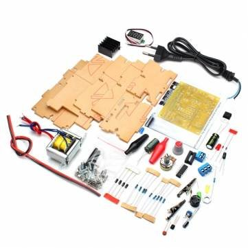 Utini EU 220V DIY LM317 Adjustable Voltage Power Supply Board Learning Kit with Case