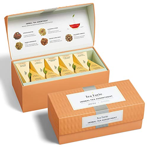 - Tea Forte Presentation Box Tea Sampler, Assorted Variety Tea Box, 20 Handcrafted Pyramid Tea Infuser Bags (Herbal Tea Asst)
